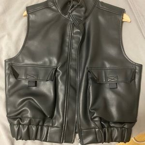 Black Leather Zip Up Vest - Urban Outfitters